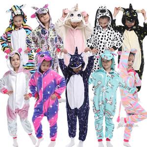 Kigurumi أطفال بيجامات للبنين بنات يونيكورن منامة الفانيلا الاطفال الباندا Pijamas دعوى الحيوان ملابس الشتاء القط نيسيس