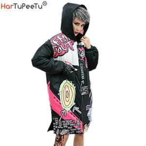 Winter Women's Jacket Zipper Hoodies Streetwear Graffiti Print Casual Thick Cotton Coat for Women Loose Harajuku Hip Hop Jackets 201006