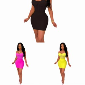 BYZ Rhinestone Largo 2018 Crop Top Mini Vestido Mujeres Sobrefits Mujeres Twodress Sleeve Sexy Sexy Dress Dos Pie Mesh Sheer