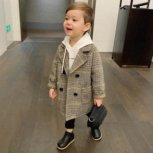 Fashion Lattice Wool Coat For Boys Spring Autumn Jacket For Boys Girls Windbreaker Kids Clothes Children Overcoat High Quality Y200831