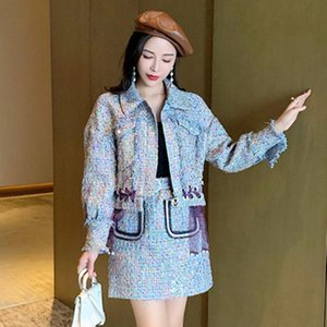 Autumn Winter High-End Luxury Tweed Two Piece Set Women Long Sleeve Plaid Lace-Up Woolen Short Jacket Coat Mini Skirt Suit
