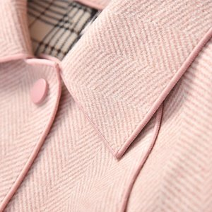 Shuchan Pink Wool Blend Coat Women Ajustable Cintura Single Breasted Wide-ceated Office Lady Abrigos y Chaquetas Mujeres LJ201202