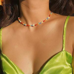 Inspesight! Z Bohemian Bunte Samenperlen Blume Choker Erklärung Kurze Kragen Keybone Kette Für Frauen Juwelen