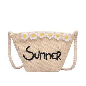 Women Straw Shoulder Bag Flower Weave Summer Retro Straw Beach Bag Crossbody Female Casual Phone Money Bags