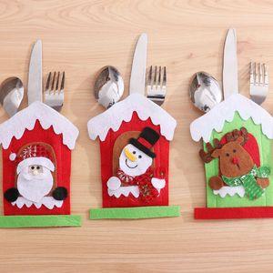 Santa Hat Reindeer Christmas New Year Pocket Fork Knife Cutlery Holder Bag Home Party Table Dinner Decoration Tableware Cover VT1820
