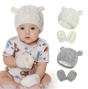 Baby Gloves Beanie Hat Set Knitted Girls Beanie Cap Gloves 2pcs Winter Warm Boys Pompom Hats Fashion Accessories 4 Colors BT6068