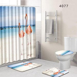 8 Types Set Bathroom Non-Slip Pedestal Rug + Lid Toilet Cover + Bath Mat+Shower curtain1