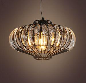 Luxury Vintage Loft K9 Crystals Iron Pendant Lights Fixtures For Cafe Bar Store Hall Club Cafe Shop Home LED Droplight Decor