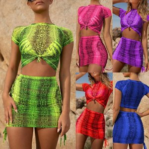 2 Piece Outfits for Women Tracksuit Women Two Piece Outfits Sexy Short Sleeve Bandage Snakeskin Short Top Skirt Suits ClothesZ4
