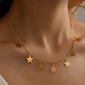 النجمة الذهبية قلادة للنساء قلادة قلادة الشرير سلسلة قلادة القلائد مجوهرات للنساء عطلة رومانسية مجوهرات موضة هدايا