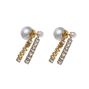 New York Stylist Earrings 925 Silver Needle D Jia Crystal Drop Earrings with Diamond Vintage Brass Tassels Jewelries Fashion Women Gifts
