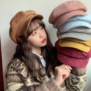 Designer de Nova Hat Lady Duck língua quente octogonal Hat Beret Senhora retro Outono-Inverno Painter Hat