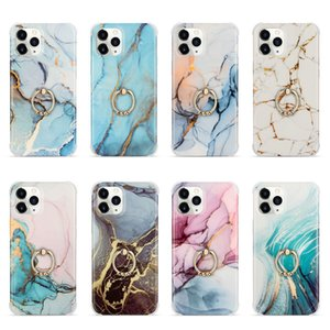 360 Metal Finger Ring Holder Marble Case For iPhone12 mini 11 Pro Max Granite Stone Heart Love Soft TPU IMD Hard Back Cover