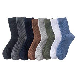 Hombres calcetines otoño invierno medias cálidas reutilizable raya media calcetines sólido color elástico transpirable alta calidad 2mh o2