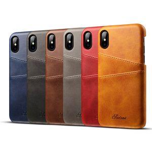 Caso de couro com Slot para cartão + Casos PC Voltar 6 cores para o iPhone 12 12mini 12 pro max 11 xr xs max 8 6 6 Plus com sacos de OPP