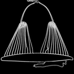 Rhinestone Thong Stonefans Bra and Sexy Panties Hollow for Women Charm Bikinis Crystal Body Chain Harness Underwear Jewelry Gift