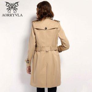 AORRYVLA Herbst Klassische Zweireiher Damen Trenchcoat Street Verstellbare Taille Abzugskragen Frauen Lange Oberbekleidung 201119