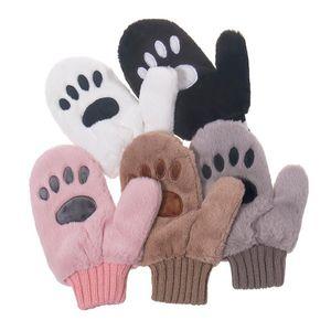 Foxmother New Süße Mode Winter Schwarz Rosa Warme Bär Katze Handschuhe Womer Damen