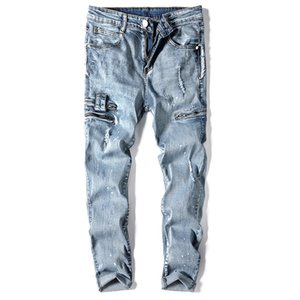 Fall 2020 new zipper hole straight leg jeans high street men stretch slim splash ink young family first choice