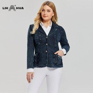 LIH HUA Women's Plus Size Casual Fashion Busine Denim Suit Premium Stretch Knitted Denim Slim Fit Denim Jacket 201012