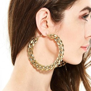 유럽 80mm 슈퍼 대형 원 체인 농구 귀걸이 펑크 쿠바 링크 체인 루프 문 귀걸이 여성 파티 쥬얼리 1