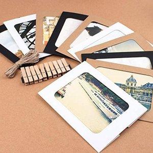 종이 사진 프레임 장식 조합 홈 A9L1 매달려 10 사진 프레임 클립 로프 레트로 소 가죽