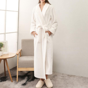 Frauen Männer extralange Warm Dobby Coral Fleece Bademantel Winter-Thick Flanell Thermal Kimonobademantel Dressing Gown Peignoir