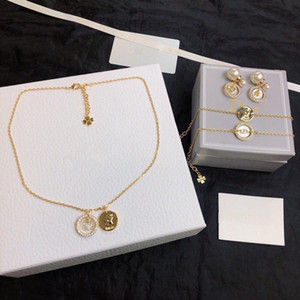2020 nouveau collier bracelet D set mode 1: 1 tempérament dame laiton boucles d'oreilles de bijoux