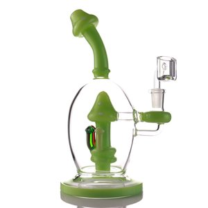2021 New Glass Bong Dab Rigs Jade Color Recycler Bongs Water Pipe Recycler dab Rig mushroom smoking bongs