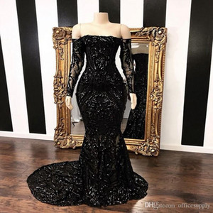 2021 Black Off The Shoulder Mermaid Prom Party Dresses 2020 New Long Sleeve Sweep Strain Sequined Formal Evening Gowns