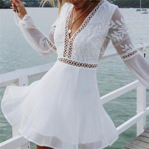 White Lace donne di estate adattano il vestito casuale V-Collo sexy maniche lunghe Trim breve mini abiti Vestido Sundress
