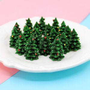 20Pcs 3D Miniature Xmas Tree Fairy Garden Accessories DIY Terrarium Figurines Ornaments Christmas Decoration Supplies 18*27mm