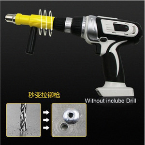 Power Cordless Drill Hand Riveter Nail Accessory Electric Pull Rivet Conversion Tool Nut Insert Riveting Adapter Gun Set EnSo#