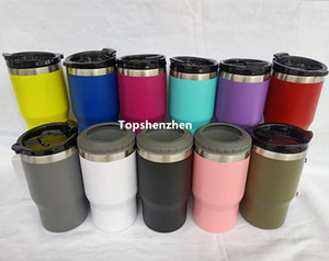 20pcs 4-in-1 Kalte Flasche Dosenkühler 14 Unzen Doppelwand-Vakuum-Insulated dünne Dosen Bier-Halter Getränk Kühler mit zwei Deckeln