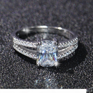 Fashion jewelry Luxury Eternal 2ct Topaz CZ 10KT Gold Filled GF Simulated Diamond Wedding Engagement Band Ring For Women Sz 5-11