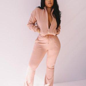 RDXH NEPLOE 2018 2 Blusa de rayas Pantalones de pierna ancha Conjunto con fajas Fashion Fashion New Blusas Flare Pants Pants PCS MUJER STUSTS 68191 D18110706