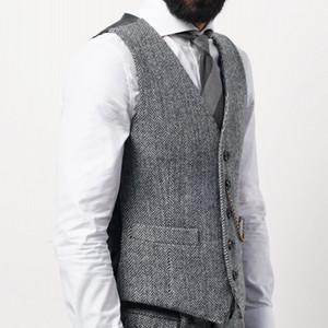 2021 Классический коричневый жених Жилетны Шерстяные Groomsmen Vest Slim Fit Mens Платье Бизнес Костюм Жилет Короткий Ужин Вечерина Свадьба Наряда Жилетнее платье