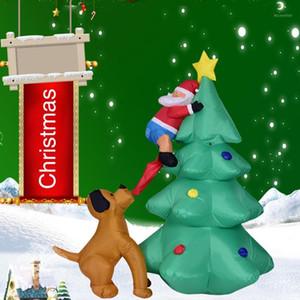 Ночная мультфильм надувная модель собака бит орнамент фестиваль рождественский свет Санта-Клаус садовая партия лазания дерево дома декор Led1