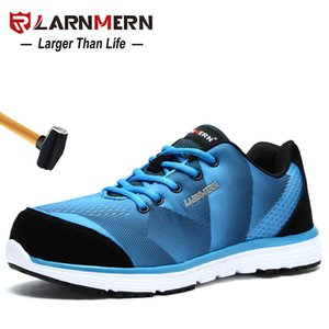 LARNMERN Men's Work Shoes Steel Toe Safety Shoes Comfortable Lightweight Anti-smashing Non-slip Construction Protective Footwear 201223