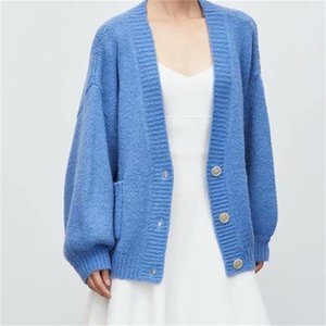 TRAF Women 2021 Fashion Buttons Cropped Knitted Cardigan Sweaters Vintage Long Sleeve Female Outerwear Streetwear