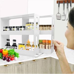 المطبخ منظم متعدد وظيفة التخزين الرف تخزين المواد الغذائية صندوق التوابل صندوق التخزين الدوارة التوابل الرف المستوى 2 التوابل الرف،