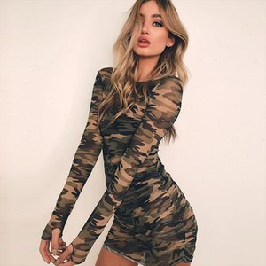 Camouflage Mesh Bodycon Dress Women Summer Casual Sexy See Through Dress Girl Long Sleeve Party Mini Dresses
