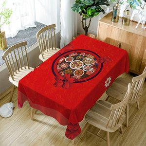 Настольная ткань Китайский год 3D скатерть красный ужин узор из полиэстер хлопок моющийся водонепроницаемый прямоугольный чехол