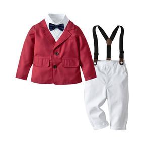 2020 New Gentleman Autumn Baby Boys Jacket Bow Tie Shirt Pants Suit Three-piece Children Long-sleeve Suit Boys Kids Banquet Wear Y1113