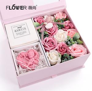 fiori di sapone confezione regalo del sapone fiore regalo contenitore di San Valentino di Natale rosa con fiori di sapone fatto a mano fascio Wedding bouquet da sposa