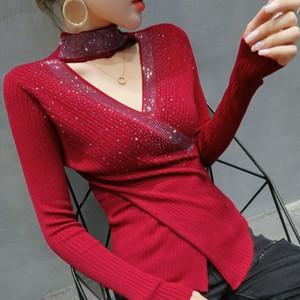 Autumn winter 2020 New women sweaters Fashion sexy v-neck diamond knitted shirt Elegant slim women's pullovers