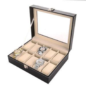 10 Сетка черный PU Деревянные наручные часы Box Display Box Jewelry хранения держатель Организатор чехол со стеклом 10шт / CTN Оптовая DWF2859