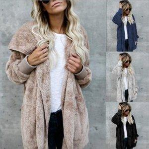 Faux Manteau de fourrure Femmes 2020 Automne Hiver chaud douce fourrure veste longue Outwear en peluche Pardessus Pocket Cardigan avec capuche Buttonless