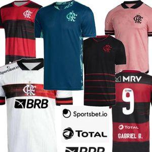 2021 версия игрока Flamengo Mens Soccer Jersey Gabriel B. Home White Pink Diego Henrique De AraraScaeta Футбольная футболка 20 21