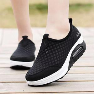 Akexiya Women Breathable Mesh Slip On Height Increasing Swing Shoes Outdoor Walking Sports Wedge Sneakers Platforms Size41 #h25v